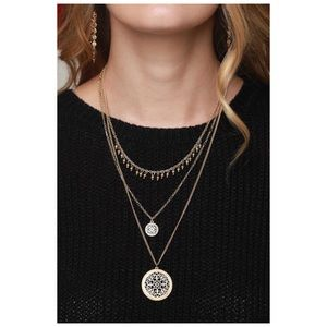Multi Strand Filigree Charm Pendant Necklace Gold